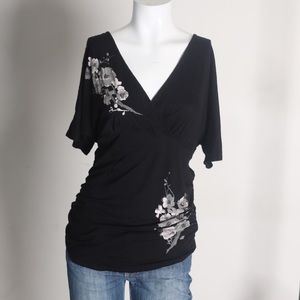 Black v-neck maternity top with flowers/beading S